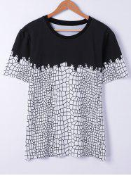 Stylish Short Sleeves Round Neck Net Structure Printing T-Shirt For Men - BLACK L