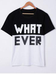 Fashionable Short Sleeves Round Neck Color Block Loose Character Printing T-Shirt For Men -