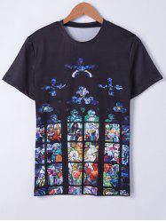 Fashionable Short Sleeves Round Neck Oil Painting Printing T-Shirt For Men -