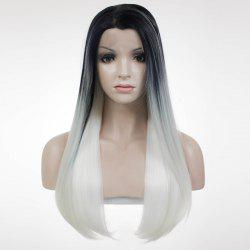 Elegant Lace Front Long Straight Mixed Color Side Parting Synthetic Wig For Women -