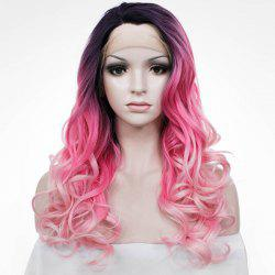 Stunning Women's Long Wavy Mixed Color Side Parting Lace Front Synthetic Wig - COLORMIX