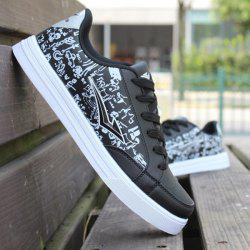 Fashion Lace-Up and PU Leather Design Athletic Shoes For Men -