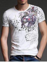 Trendy Round Neck Abstract Printing Slimming Short Sleeves T-Shirt For Men