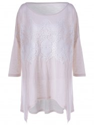 Fashionable Long Sleeves Lace Splicing Asymmetric T-Shirt For Women - APRICOT L
