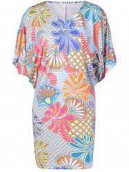 Casual V-Neck Batwing Dress With Floral Print For Women -