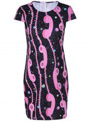 Fashionable Short Sleeves Round Collar Printing Dress For Women