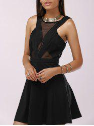 Fashionable Gauze Splice Cut-Out Drees For Woman - BLACK