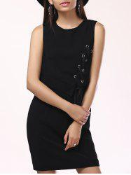 Fashionable Round Collar Cross Frenum Asymmetric Dress For Woman - BLACK XL