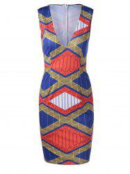 Ethnic Style Fitted V-Neck Geometric Print Dress For Women - EARTHY L