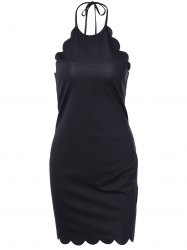 Halter Petaline Type Backless Bodycon Dress - BLACK XL