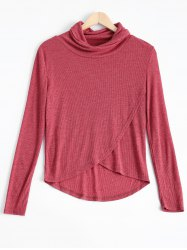 Cowl Neck Asymmetric Pure Color Sweatshirt