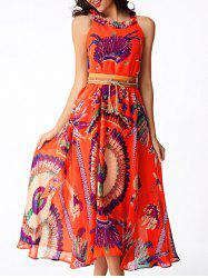 Flowing Printed Chiffon African Maxi Dress - ORANGE RED XL