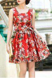 Sleeveless Floral Print Bowknot Belt Dress -