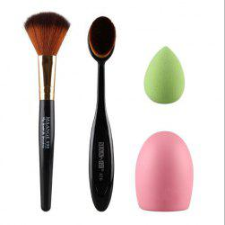 Stylish 4 Pcs/Set Blush Brush + Powder Brush + Powder Puff + Brush Egg -