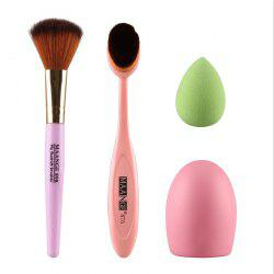 Élégant 4 Pieces / Set Blush Brush + Pinceau Poudre + Powder Puff + Brushegg -