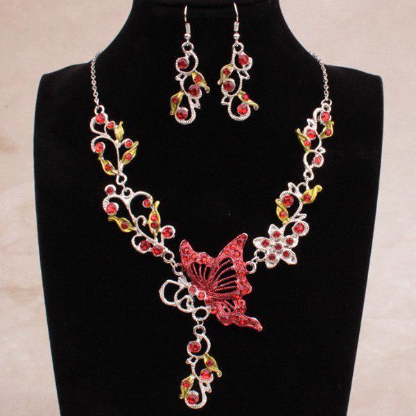 Fake Enamel Butterfly Vine Jewelry SetJEWELRY<br><br>Color: RED; Item Type: Pendant Necklace; Gender: For Women; Material: Rhinestone; Metal Type: Alloy; Style: Classic; Shape/Pattern: Insect; Weight: 0.057kg; Package Contents: 1 x Necklace 1 x Earrings (Pair);