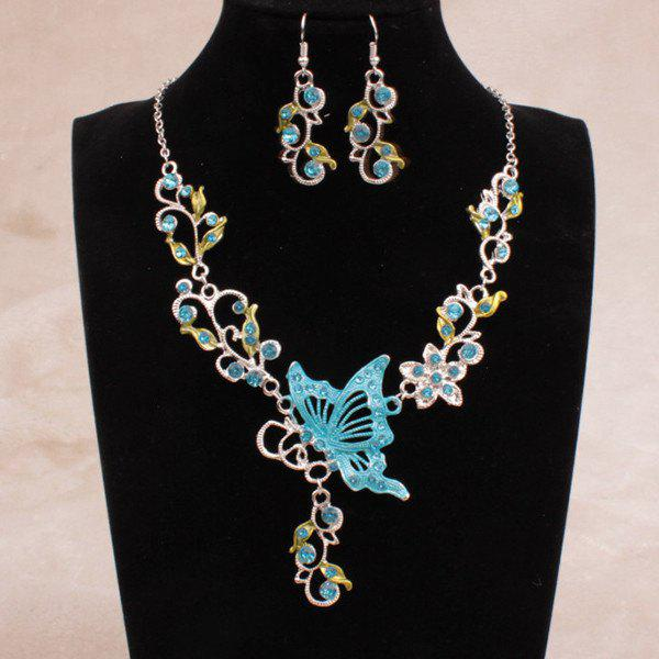 Fake Enamel Butterfly Vine Jewelry SetJEWELRY<br><br>Color: LAKE BLUE; Item Type: Pendant Necklace; Gender: For Women; Material: Rhinestone; Metal Type: Alloy; Style: Classic; Shape/Pattern: Insect; Weight: 0.057kg; Package Contents: 1 x Necklace 1 x Earrings (Pair);