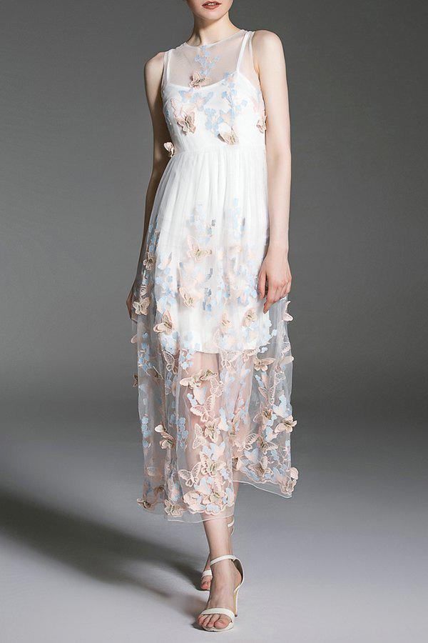 Fashion Sheer Butterfly Maxi Dress With Cami Dress