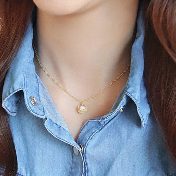 Fake Pearl Shell Pendant NecklaceJEWELRY<br><br>Color: GOLDEN; Item Type: Pendant Necklace; Gender: For Women; Necklace Type: Link Chain; Material: Pearl; Metal Type: Alloy; Style: Trendy; Shape/Pattern: Others; Weight: 0.025kg; Package Contents: 1 x Necklace;