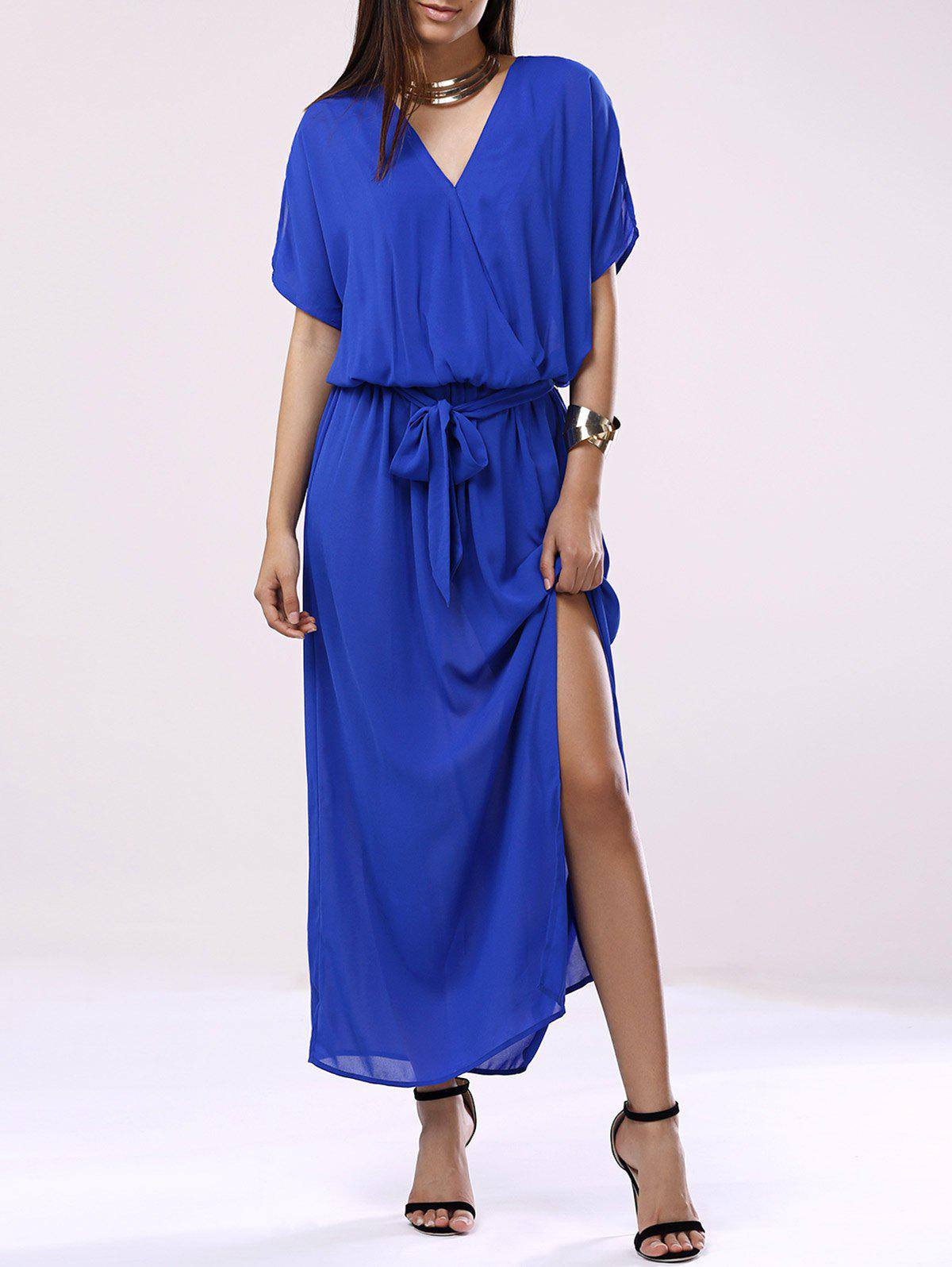 Shop Elegant V-Neck 3/4 Sleeve Chiffon Dress