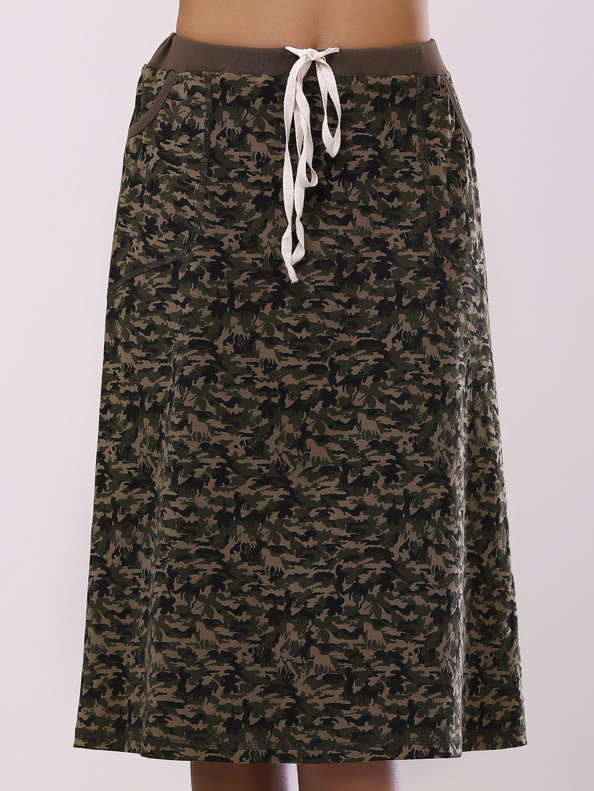 Outfits Fashionable Camo Printing Pocket Skirt For Women