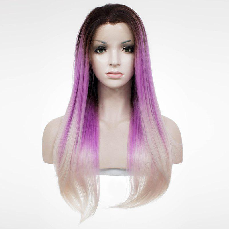Hot Noble Lace Front Long Silky Straight Mixed Color Synthetic Wig For Women