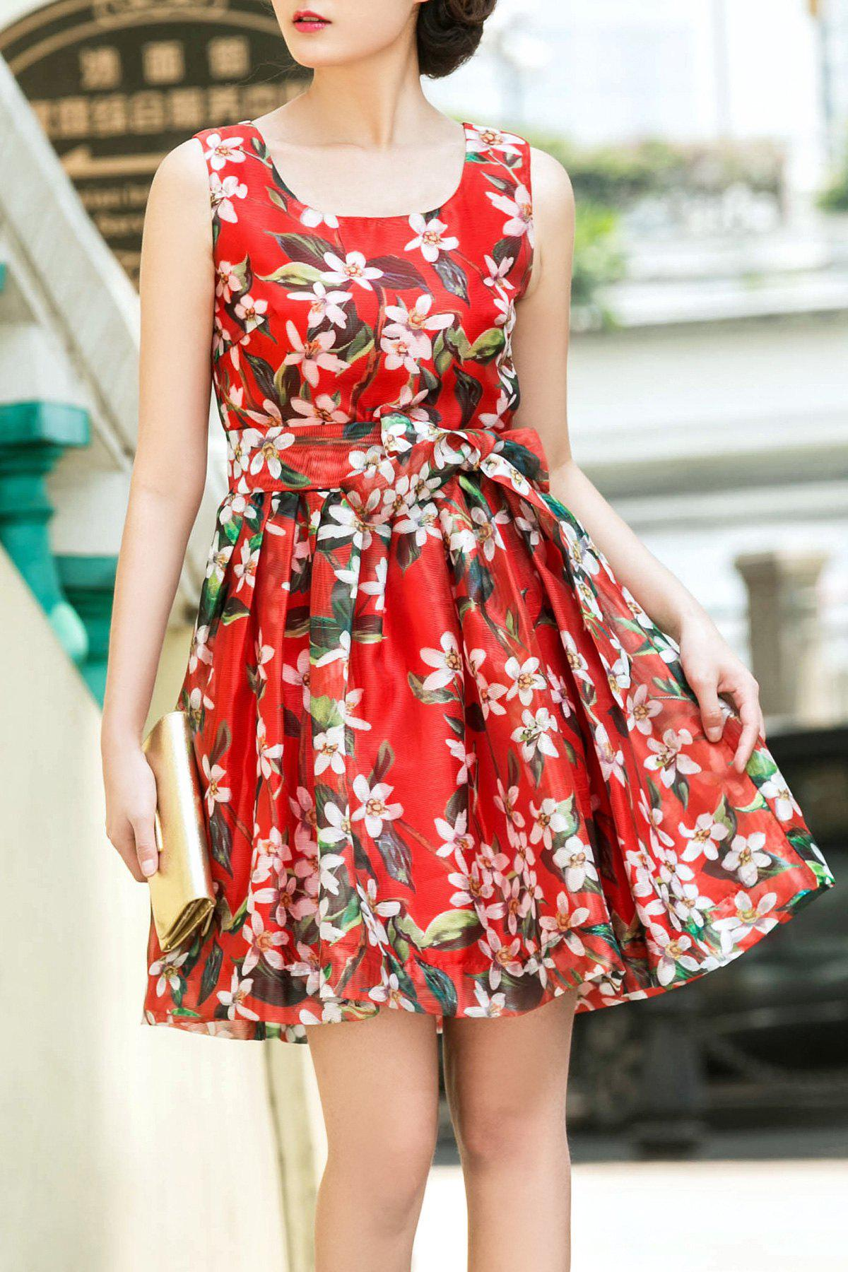 Cheap Sleeveless Floral Print Bowknot Belt Dress