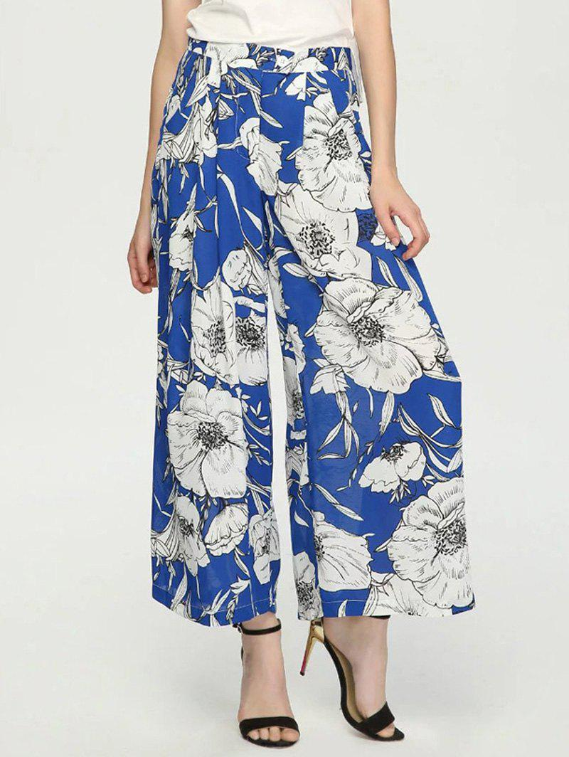 Fancy Button Fly Floral Print Women's Wide Leg Pants