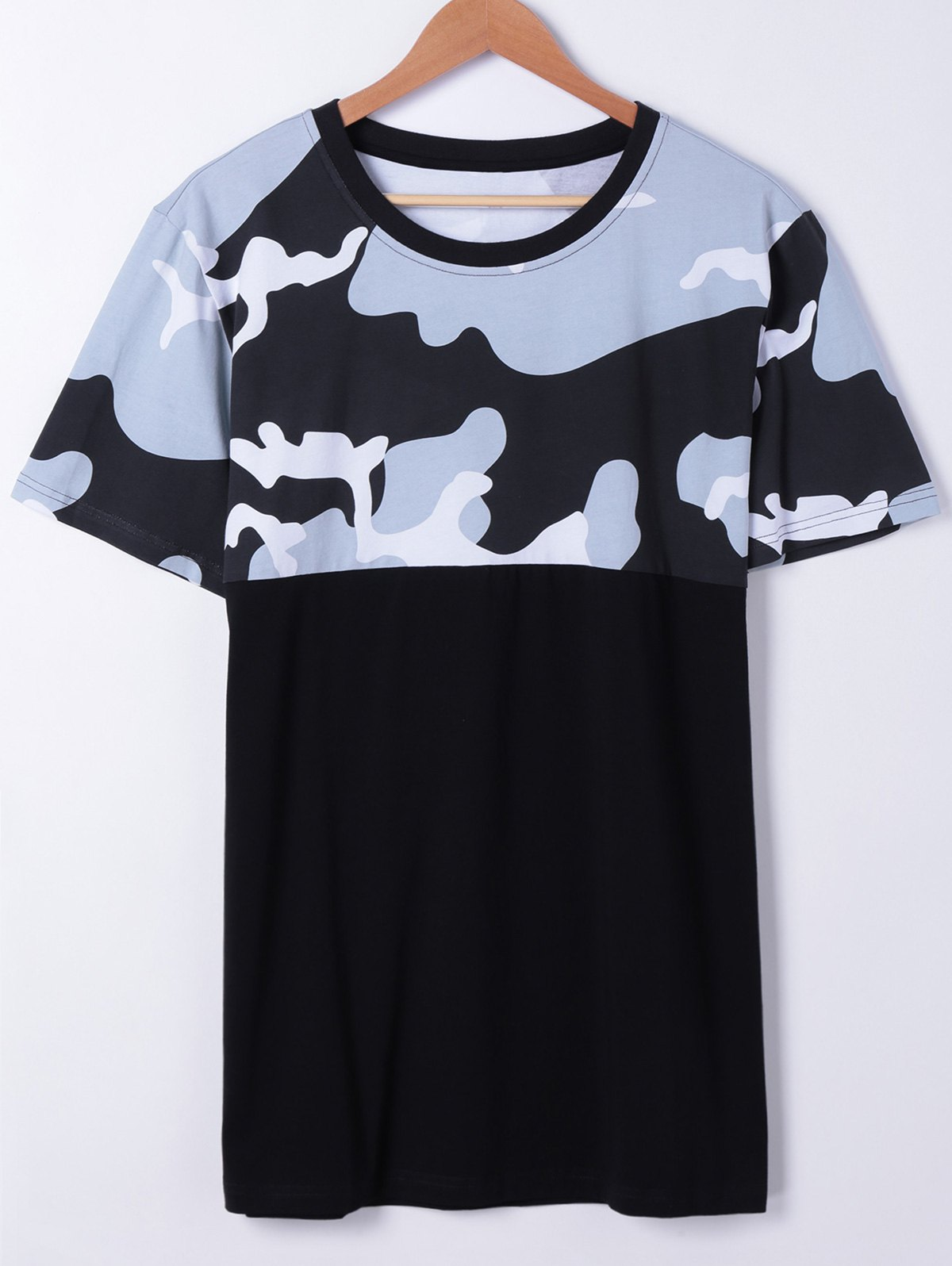 Fashionable Short Sleeves Round Neck Splice Camo Printing T-Shirt For MenMEN<br><br>Size: XL; Color: BLACK; Style: Fashion; Material: Cotton,Rayon; Sleeve Length: Short; Collar: Round Neck; Pattern Type: Print; Weight: 0.250kg; Package Contents: 1 x T-Shirt;