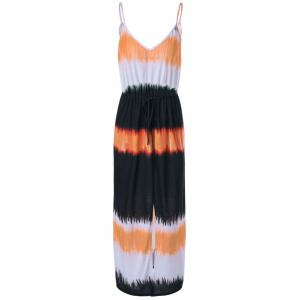Fashionable Condole Belt Tie-Dye Side Slit Dress For Women