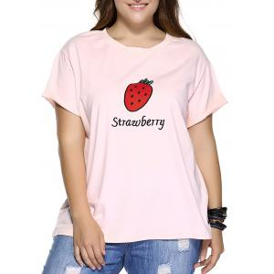 Casual Plus Size Strawberry Pattern Embroidered T-Shirt