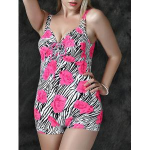 Trendy Plus Size Flower Zebra Print One-Piece Swimwear For Women