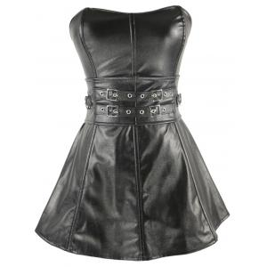Short Strapless Belts Design Ruffles Corset Dress - Silver And Black - 2xl