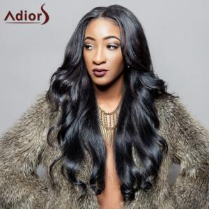 Adiors Charming Black Long Synthetic Fluffy Wave Centre Parting Wig For Women - Black - 24inch