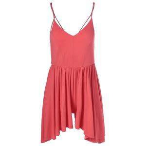 Fashionable Spaghetti Strap Backless Flounce Romper For Women