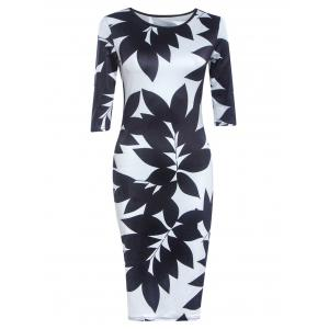 Chic Round Neck Half Sleeve Leaf Print Skinny Women's Dress