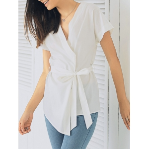 Elegant Plunging Neck Short Sleeve Solid Color Bandage Blouse
