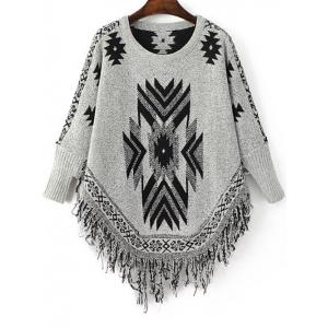 Stylish Round Neck Long Sleeve Geometric Tassels Women's Jumper - Black And Grey - One Size