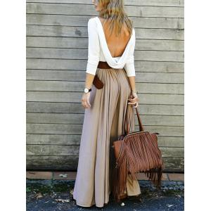 Backless Long Sleeve Maxi Pleated Prom Dress - KHAKI M