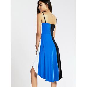 Spaghetti Strap Color Blocks High-Low Summer Dress - BLUE AND BLACK XL