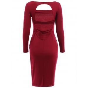 Alluring Scoop Neck Long Sleeve Cut Out Bodycon Dress For Women -