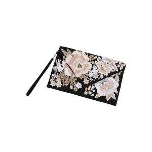 Embroidery Envelope Clutch - BLACK