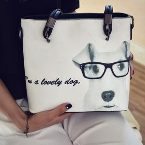 Leisure Metal and Dog Printed Design Shoulder Bag For Women -