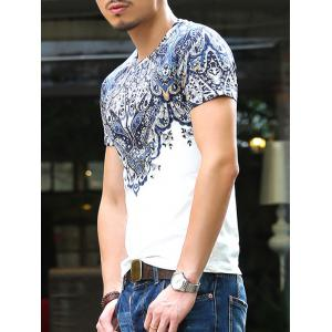 Baroque Round Neck Abstract Printing Slimming Short Sleeves T-Shirt For Men -