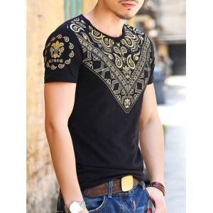 Gloden Geometric Paisley Printing Slimming Round Neck Short Sleeves T-Shirt For Men -
