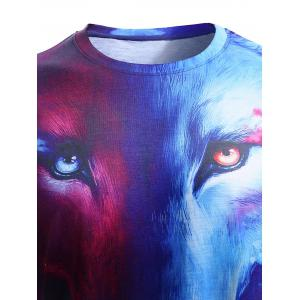 Round Neck 3D Starry Sky and Wolf Print Short Sleeve T-Shirt For Men - COLORMIX XL