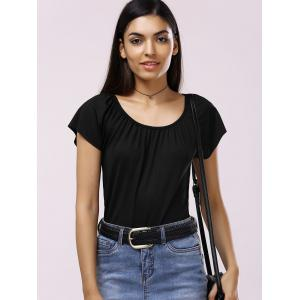 Brief Scoop Neck Solid Color Pleated Women's T-Shirt - BLACK XL