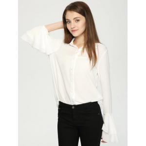 Elegant Layered Flare Sleeve Buttoned Women's Shirt -