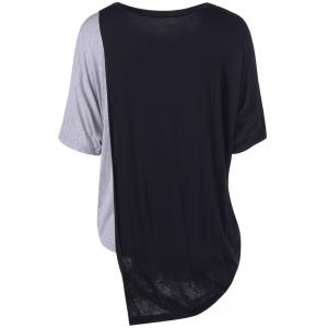 Simple Color Block Round Neck Top For Women -
