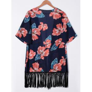 Fashionable Floral Print Fringe Kimono For Women -